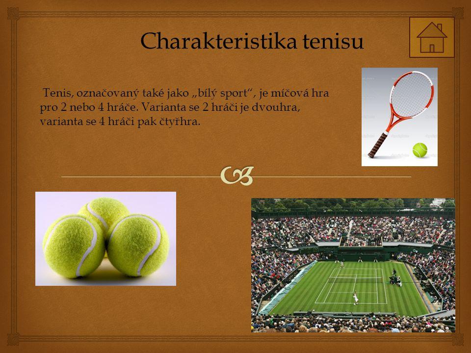 """Charakteristika tenisu Tenis, označovaný také jako """"bílý sport , je míčová hra pro 2 nebo 4 hráče."""