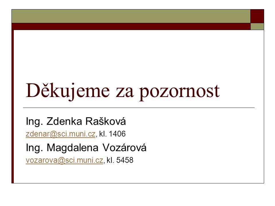 Děkujeme za pozornost Ing.Zdenka Rašková zdenar@sci.muni.czzdenar@sci.muni.cz, kl.