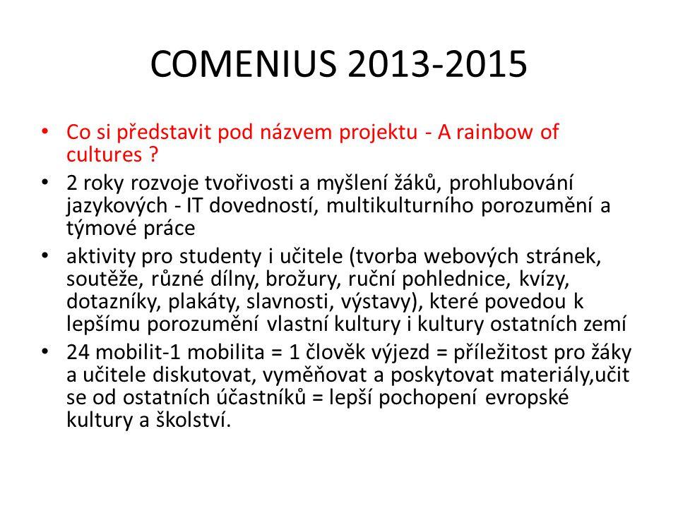 COMENIUS 2013-2015 Co si představit pod názvem projektu - A rainbow of cultures .