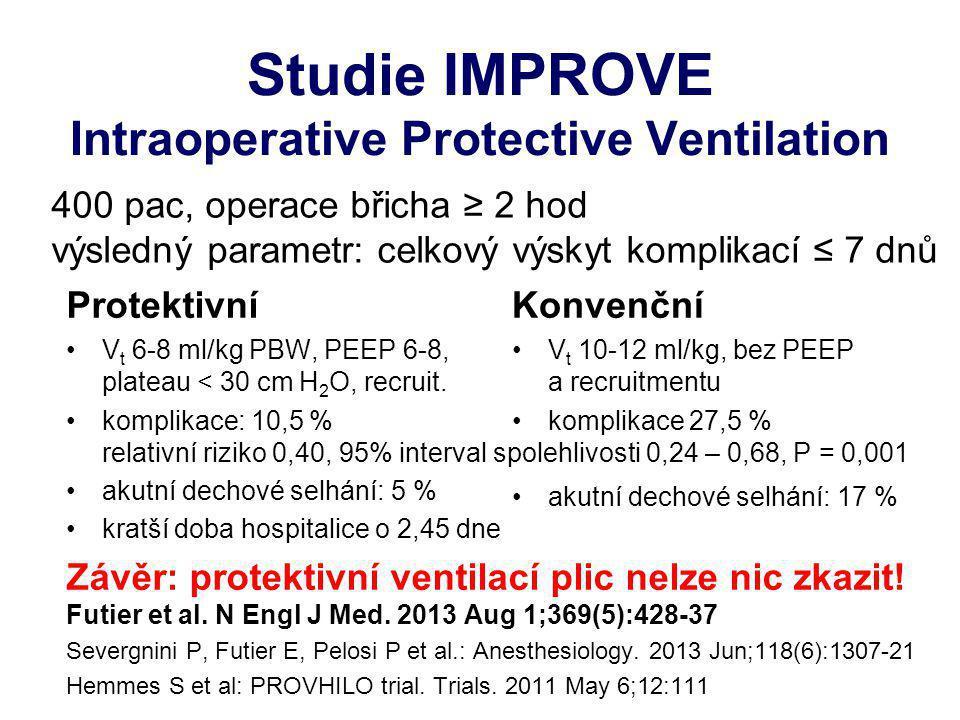 Studie IMPROVE Intraoperative Protective Ventilation Protektivní V t 6-8 ml/kg PBW, PEEP 6-8, plateau < 30 cm H 2 O, recruit. komplikace: 10,5 % relat