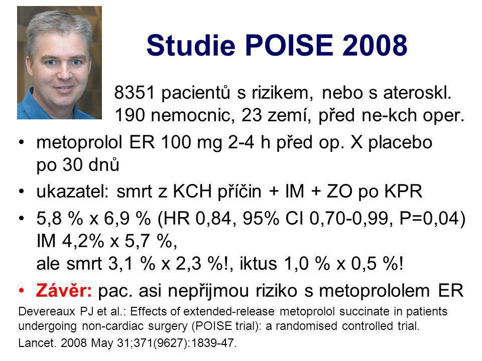 Studie POISE 2008 8351 pacientů s rizikem, nebo s ateroskl. 190 nemocnic, 23 zemí, před ne-kch oper. metoprolol ER 100 mg 2-4 h před op. X placebo po
