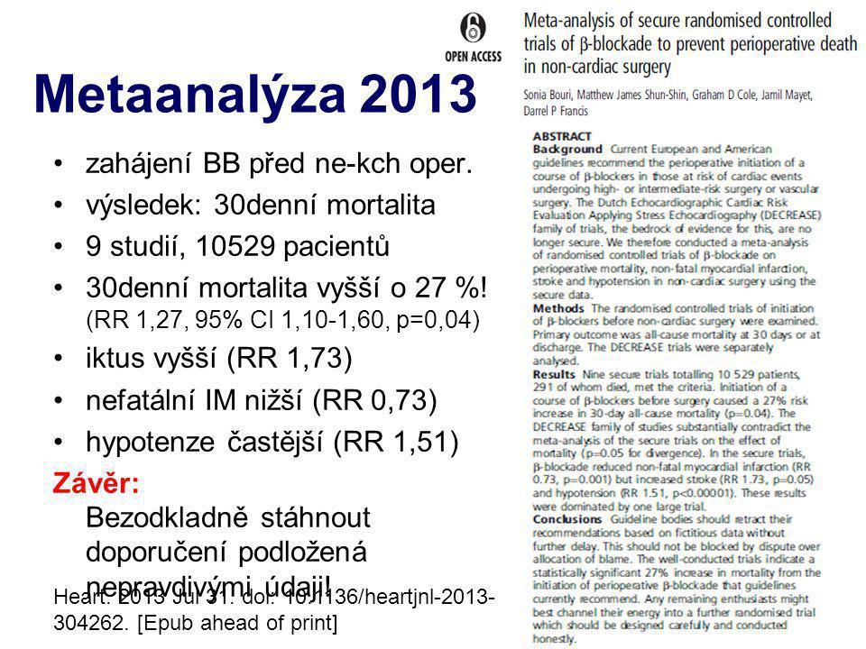 zahájení BB před ne-kch oper. výsledek: 30denní mortalita 9 studií, 10529 pacientů 30denní mortalita vyšší o 27 %! (RR 1,27, 95% CI 1,10-1,60, p=0,04)