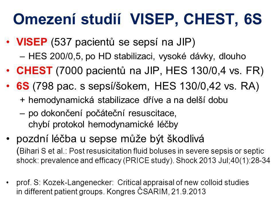 Omezení studií VISEP, CHEST, 6S VISEP (537 pacientů se sepsí na JIP) –HES 200/0,5, po HD stabilizaci, vysoké dávky, dlouho CHEST (7000 pacientů na JIP