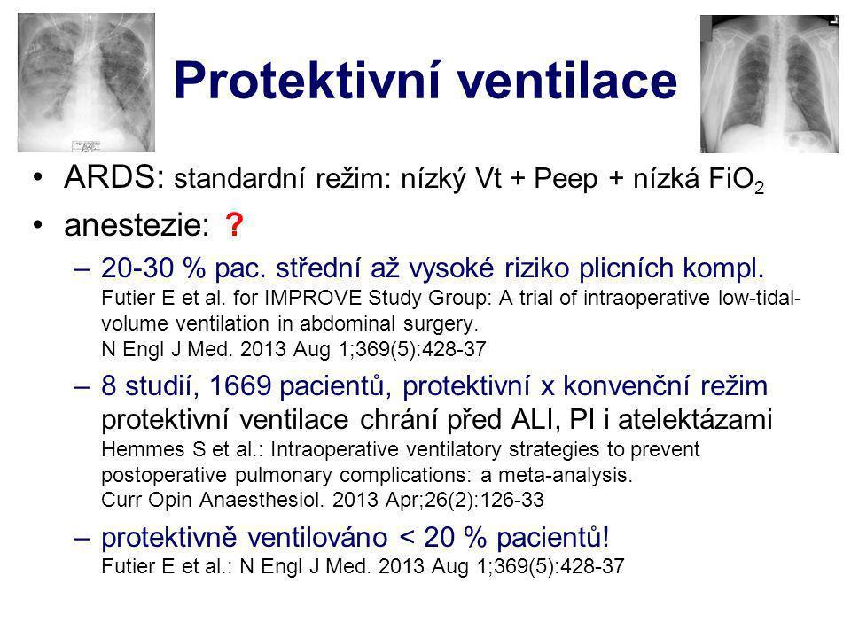 Protektivní ventilace ARDS: standardní režim: nízký Vt + Peep + nízká FiO 2 anestezie: ? –20-30 % pac. střední až vysoké riziko plicních kompl. Futier