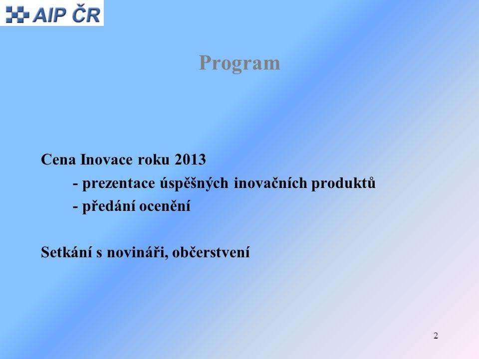 2 Program Cena Inovace roku 2013 - prezentace úspěšných inovačních produktů - předání ocenění Setkání s novináři, občerstvení