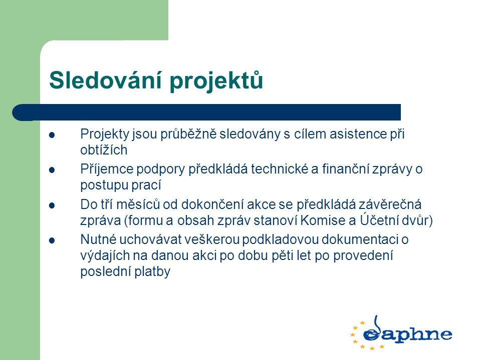 Sledování projektů Projekty jsou průběžně sledovány s cílem asistence při obtížích Příjemce podpory předkládá technické a finanční zprávy o postupu prací Do tří měsíců od dokončení akce se předkládá závěrečná zpráva (formu a obsah zpráv stanoví Komise a Účetní dvůr) Nutné uchovávat veškerou podkladovou dokumentaci o výdajích na danou akci po dobu pěti let po provedení poslední platby