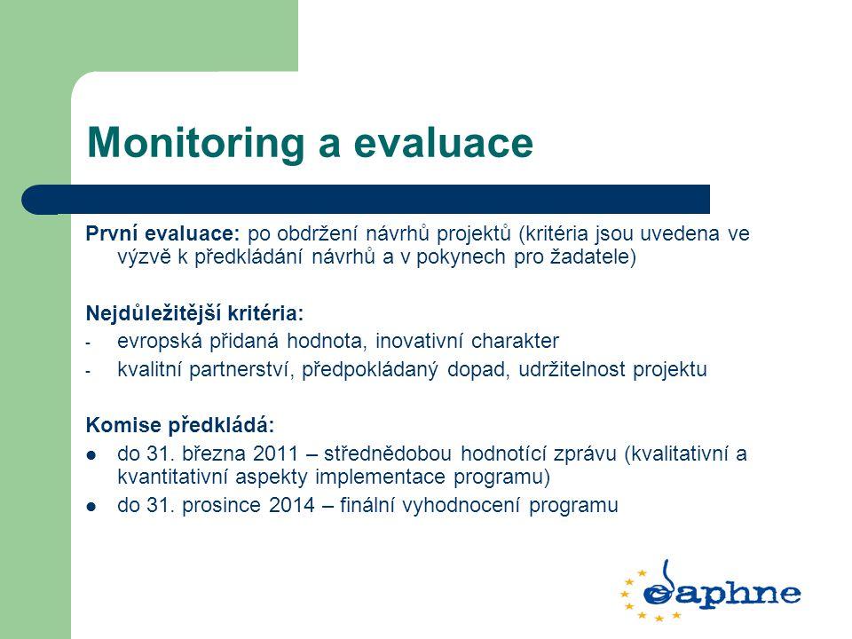Monitoring a evaluace První evaluace: po obdržení návrhů projektů (kritéria jsou uvedena ve výzvě k předkládání návrhů a v pokynech pro žadatele) Nejdůležitější kritéria: - evropská přidaná hodnota, inovativní charakter - kvalitní partnerství, předpokládaný dopad, udržitelnost projektu Komise předkládá: do 31.