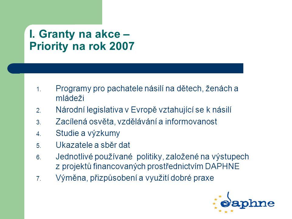 I. Granty na akce – Priority na rok 2007 1. Programy pro pachatele násilí na dětech, ženách a mládeži 2. Národní legislativa v Evropě vztahující se k