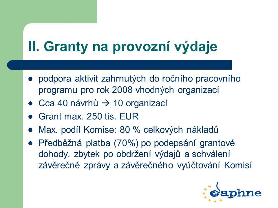 II. Granty na provozní výdaje podpora aktivit zahrnutých do ročního pracovního programu pro rok 2008 vhodných organizací Cca 40 návrhů  10 organizací