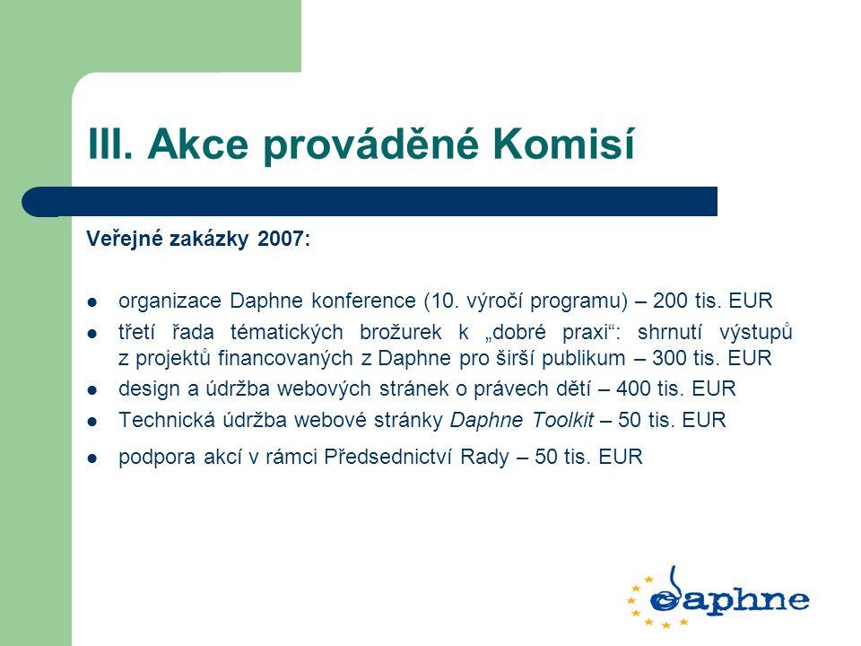 """III. Akce prováděné Komisí Veřejné zakázky 2007: organizace Daphne konference (10. výročí programu) – 200 tis. EUR třetí řada tématických brožurek k """""""