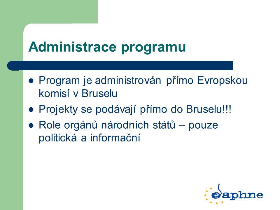 Administrace programu Program je administrován přímo Evropskou komisí v Bruselu Projekty se podávají přímo do Bruselu!!! Role orgánů národních států –