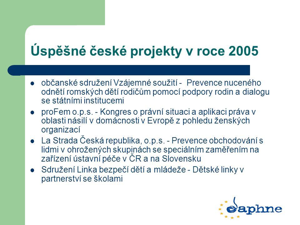 Úspěšné české projekty v roce 2005 občanské sdružení Vzájemné soužití - Prevence nuceného odnětí romských dětí rodičům pomocí podpory rodin a dialogu se státními institucemi proFem o.p.s.