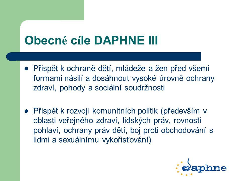 Obecn é c í le DAPHNE III Přispět k ochraně dětí, mládeže a žen před všemi formami násilí a dosáhnout vysoké úrovně ochrany zdraví, pohody a sociální