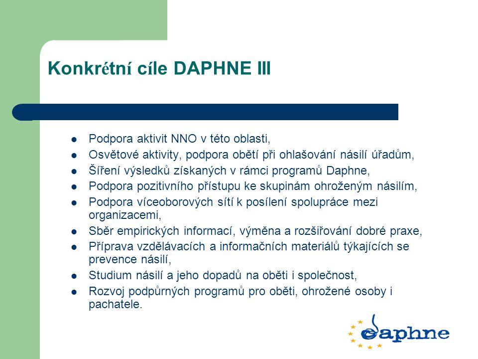 Konkr é tn í c í le DAPHNE III Podpora aktivit NNO v této oblasti, Osvětové aktivity, podpora obětí při ohlašování násilí úřadům, Šíření výsledků získ