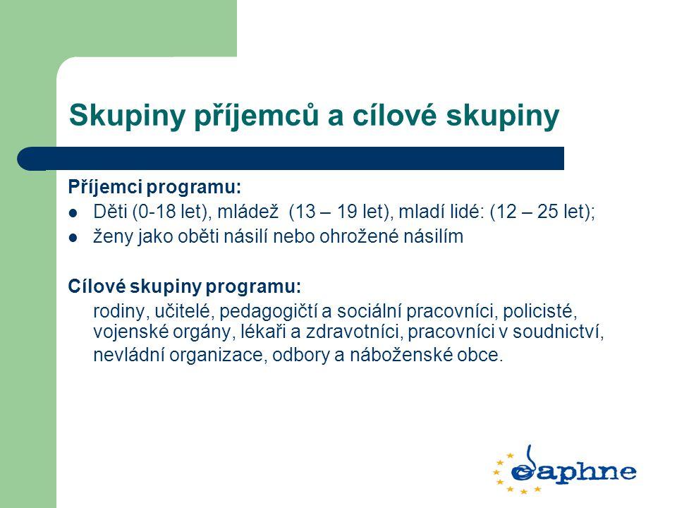 Skupiny příjemců a cílové skupiny Příjemci programu: Děti (0-18 let), mládež (13 – 19 let), mladí lidé: (12 – 25 let); ženy jako oběti násilí nebo ohr