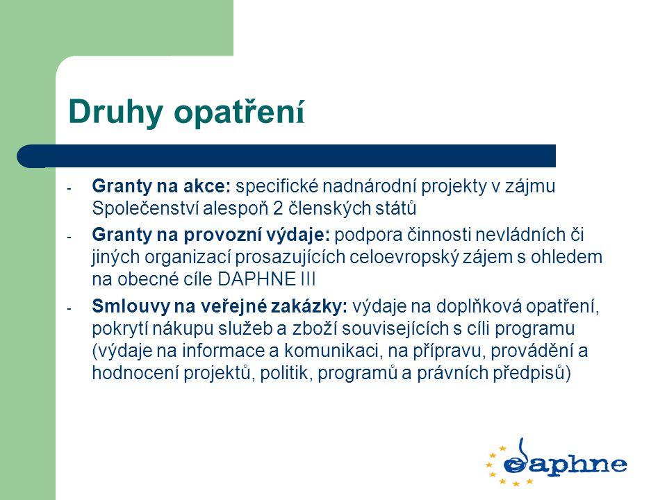 Druhy opatřen í - Granty na akce: specifické nadnárodní projekty v zájmu Společenství alespoň 2 členských států - Granty na provozní výdaje: podpora činnosti nevládních či jiných organizací prosazujících celoevropský zájem s ohledem na obecné cíle DAPHNE III - Smlouvy na veřejné zakázky: výdaje na doplňková opatření, pokrytí nákupu služeb a zboží souvisejících s cíli programu (výdaje na informace a komunikaci, na přípravu, provádění a hodnocení projektů, politik, programů a právních předpisů)