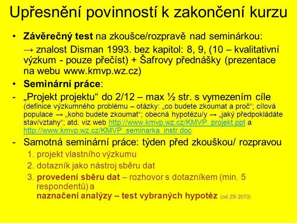 Upřesnění povinností k zakončení kurzu Závěrečný test na zkoušce/rozpravě nad seminárkou: → znalost Disman 1993.