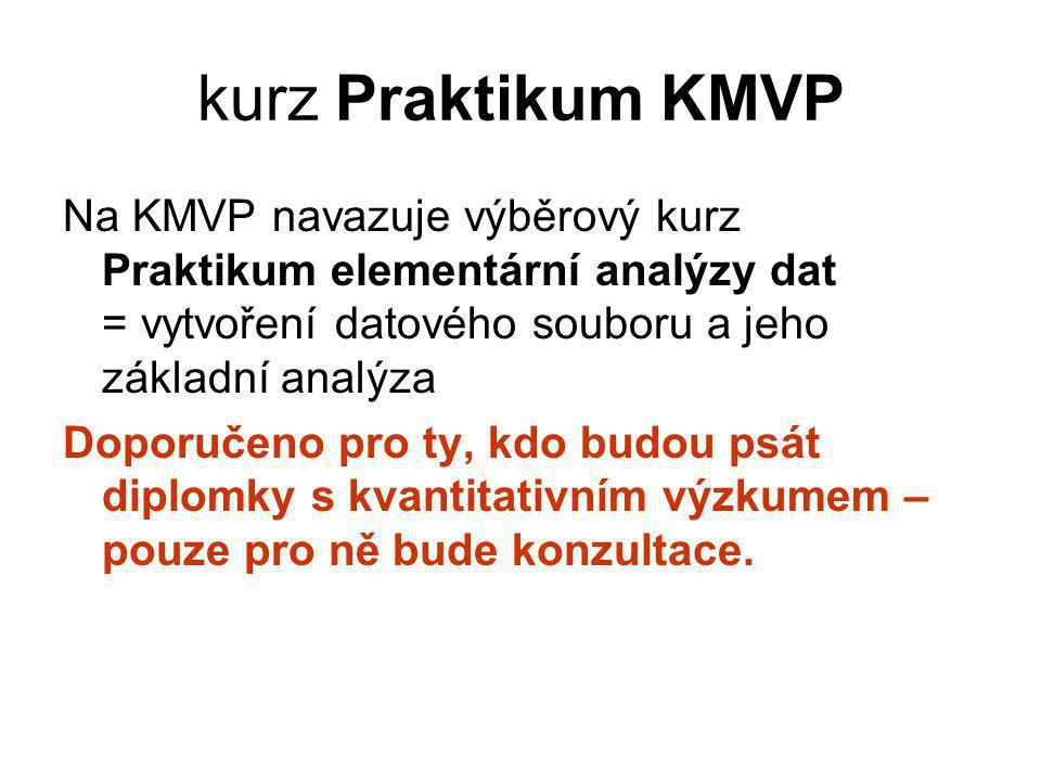 kurz Praktikum KMVP Na KMVP navazuje výběrový kurz Praktikum elementární analýzy dat = vytvoření datového souboru a jeho základní analýza Doporučeno pro ty, kdo budou psát diplomky s kvantitativním výzkumem – pouze pro ně bude konzultace.