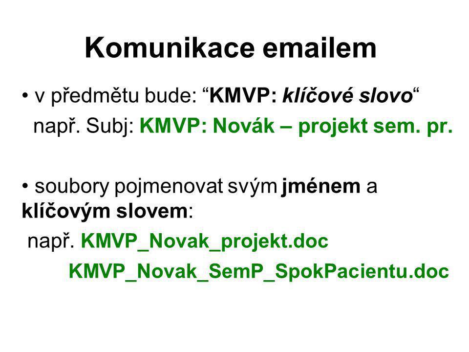 Komunikace emailem v předmětu bude: KMVP: klíčové slovo např.