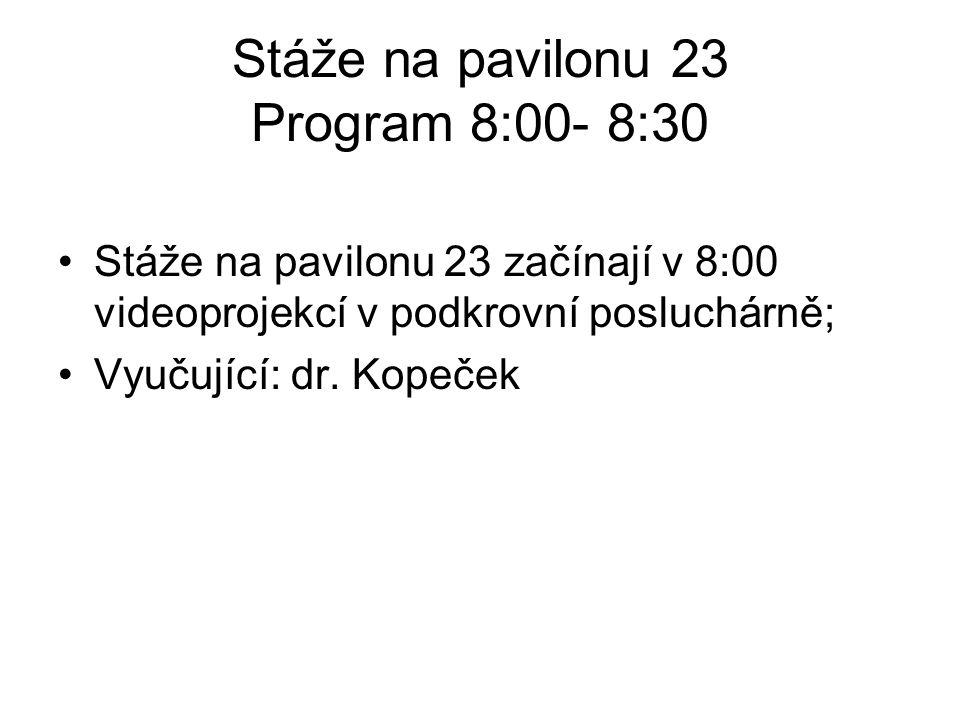 Stáže na pavilonu 23 Program 8:00- 8:30 Stáže na pavilonu 23 začínají v 8:00 videoprojekcí v podkrovní posluchárně; Vyučující: dr. Kopeček