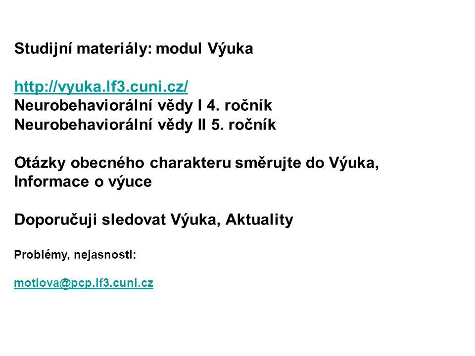 Studijní materiály: modul Výuka http://vyuka.lf3.cuni.cz/ Neurobehaviorální vědy I 4. ročník Neurobehaviorální vědy II 5. ročník Otázky obecného chara