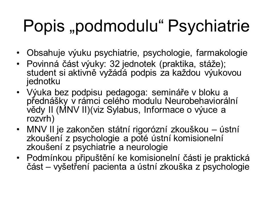 """Popis """"podmodulu Psychiatrie Obsahuje výuku psychiatrie, psychologie, farmakologie Povinná část výuky: 32 jednotek (praktika, stáže); student si aktivně vyžádá podpis za každou výukovou jednotku Výuka bez podpisu pedagoga: semináře v bloku a přednášky v rámci celého modulu Neurobehaviorální vědy II (MNV II)(viz Sylabus, Informace o výuce a rozvrh) MNV II je zakončen státní rigorózní zkouškou – ústní zkoušení z psychologie a poté ústní komisionelní zkoušení z psychiatrie a neurologie Podmínkou připuštění ke komisionelní části je praktická část – vyšetření pacienta a ústní zkouška z psychologie"""