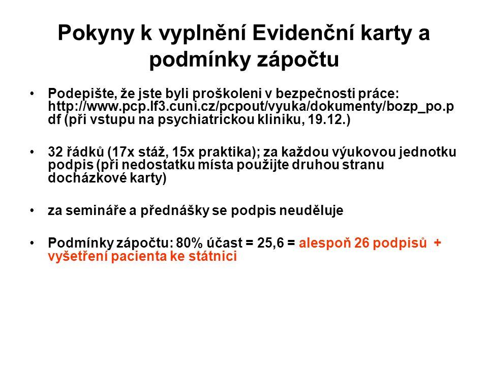 Pokyny k vyplnění Evidenční karty a podmínky zápočtu Podepište, že jste byli proškoleni v bezpečnosti práce: http://www.pcp.lf3.cuni.cz/pcpout/vyuka/dokumenty/bozp_po.p df (při vstupu na psychiatrickou kliniku, 19.12.) 32 řádků (17x stáž, 15x praktika); za každou výukovou jednotku podpis (při nedostatku místa použijte druhou stranu docházkové karty) za semináře a přednášky se podpis neuděluje Podmínky zápočtu: 80% účast = 25,6 = alespoň 26 podpisů + vyšetření pacienta ke státnici