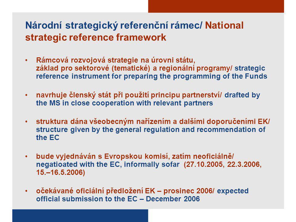 Národní strategický referenční rámec/ National strategic reference framework Rámcová rozvojová strategie na úrovni státu, základ pro sektorové (temati