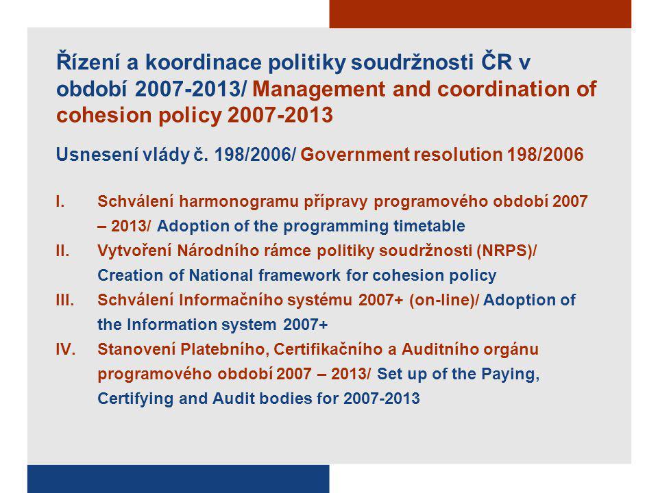 Řízení a koordinace politiky soudržnosti ČR v období 2007-2013/ Management and coordination of cohesion policy 2007-2013 Usnesení vlády č.
