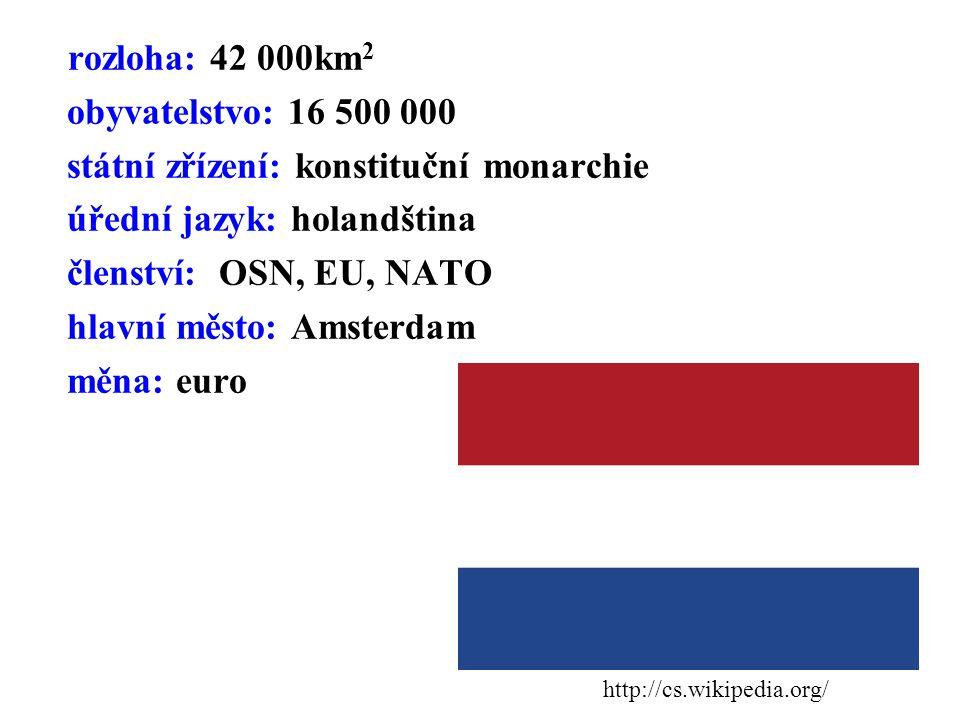 rozloha: 42 000km 2 obyvatelstvo: 16 500 000 státní zřízení: konstituční monarchie úřední jazyk: holandština členství: OSN, EU, NATO hlavní město: Ams
