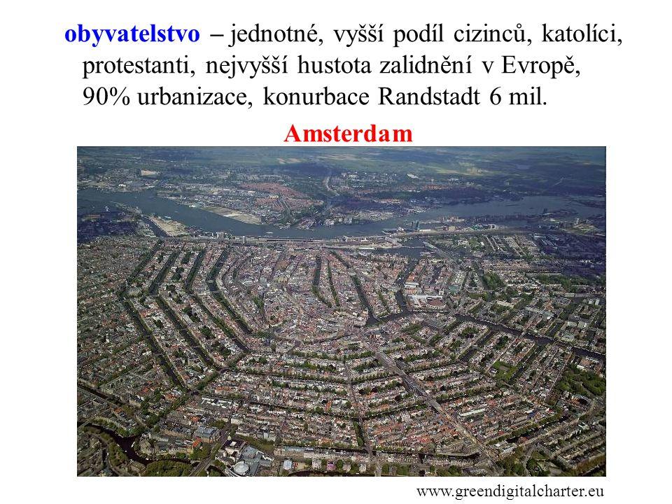 obyvatelstvo – jednotné, vyšší podíl cizinců, katolíci, protestanti, nejvyšší hustota zalidnění v Evropě, 90% urbanizace, konurbace Randstadt 6 mil. A