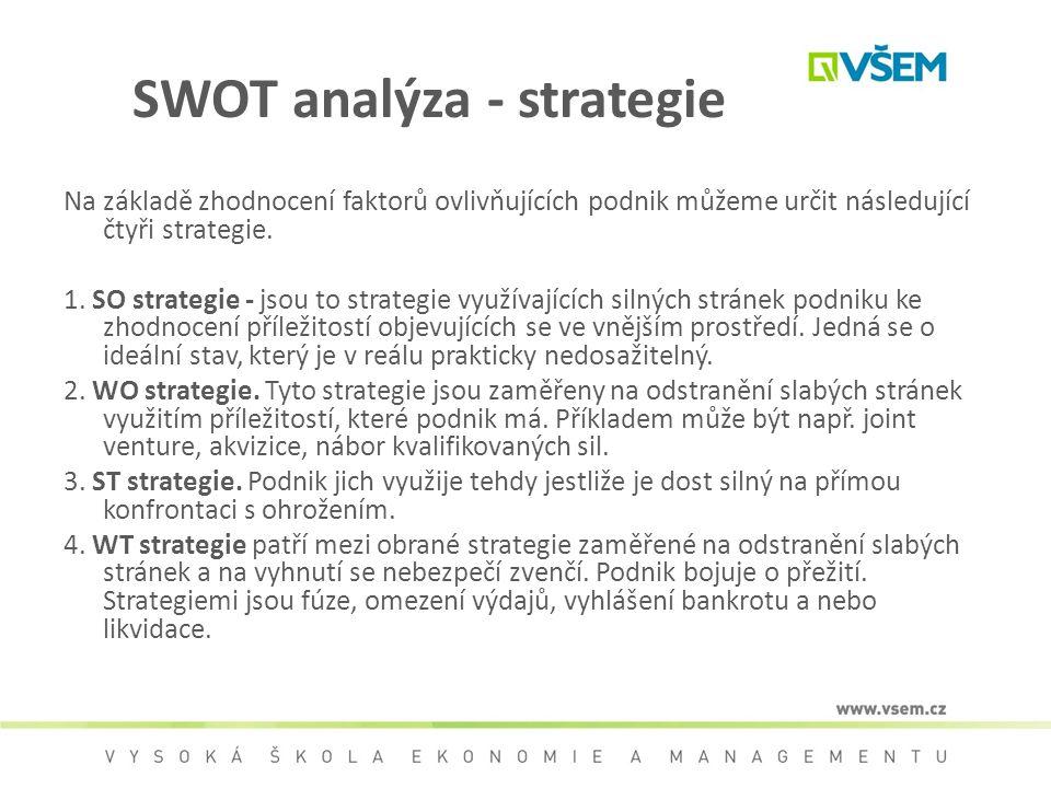SWOT analýza - strategie Na základě zhodnocení faktorů ovlivňujících podnik můžeme určit následující čtyři strategie. 1. SO strategie - jsou to strate