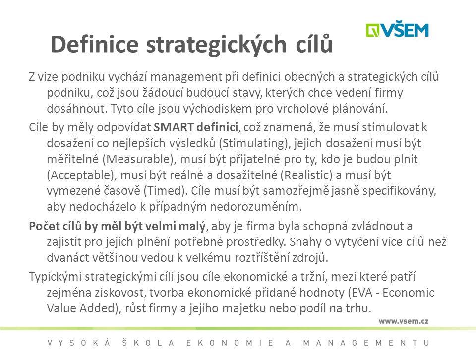 Definice strategických cílů Z vize podniku vychází management při definici obecných a strategických cílů podniku, což jsou žádoucí budoucí stavy, kter