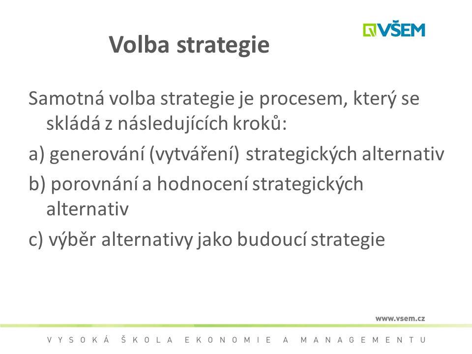 Volba strategie Samotná volba strategie je procesem, který se skládá z následujících kroků: a) generování (vytváření) strategických alternativ b) poro