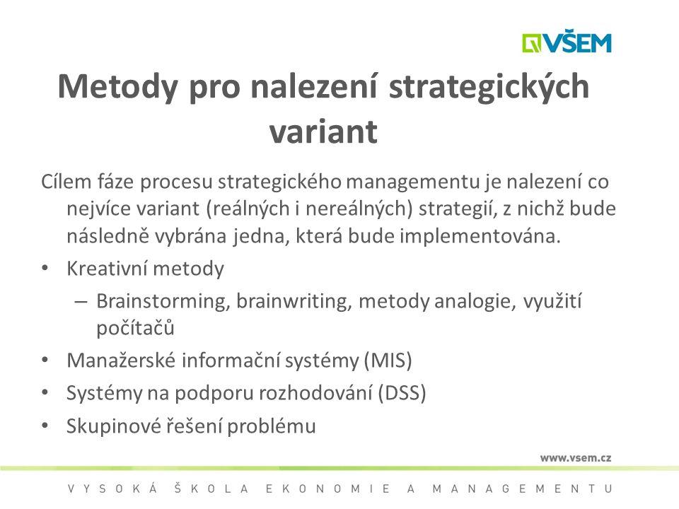 Metody pro nalezení strategických variant Cílem fáze procesu strategického managementu je nalezení co nejvíce variant (reálných i nereálných) strategi