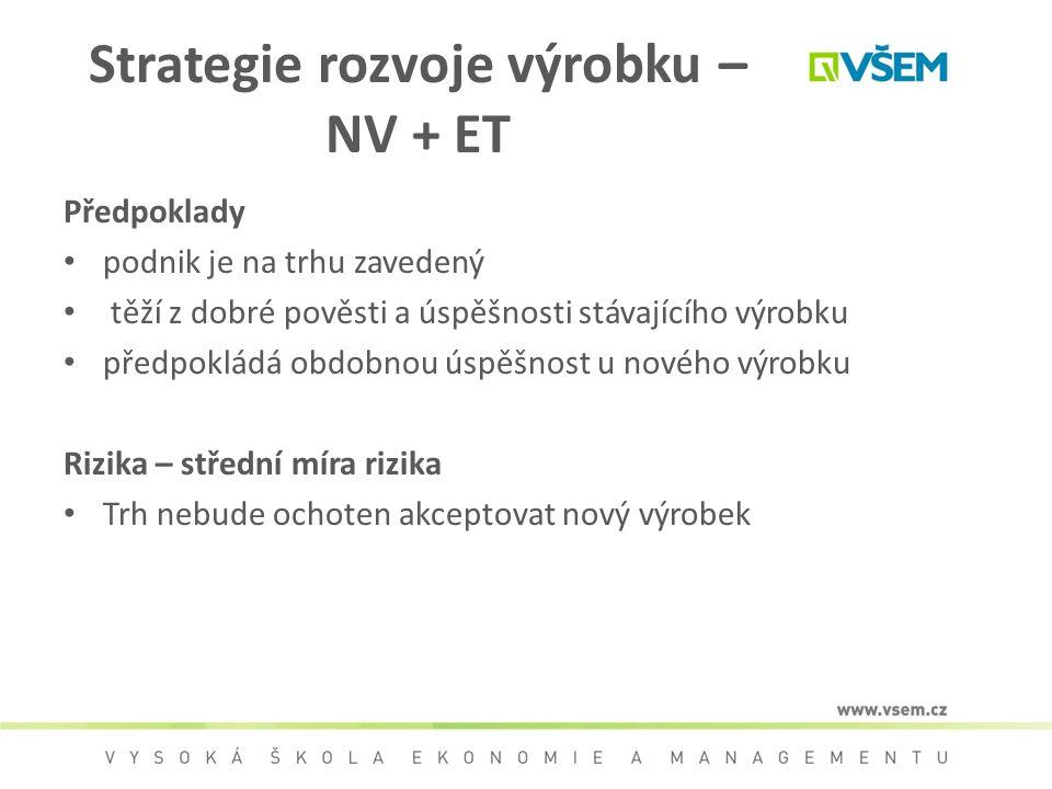 Strategie rozvoje výrobku – NV + ET Předpoklady podnik je na trhu zavedený těží z dobré pověsti a úspěšnosti stávajícího výrobku předpokládá obdobnou