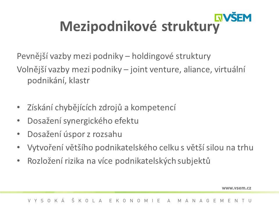 Mezipodnikové struktury Pevnější vazby mezi podniky – holdingové struktury Volnější vazby mezi podniky – joint venture, aliance, virtuální podnikání,
