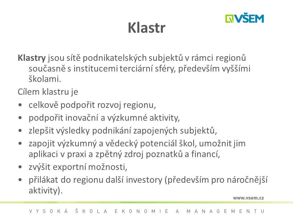 Klastr Klastry jsou sítě podnikatelských subjektů v rámci regionů současně s institucemi terciární sféry, především vyššími školami. Cílem klastru je