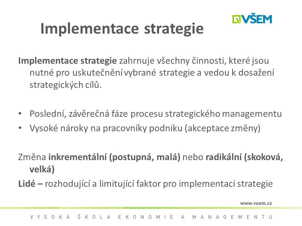 Implementace strategie zahrnuje všechny činnosti, které jsou nutné pro uskutečnění vybrané strategie a vedou k dosažení strategických cílů. Poslední,