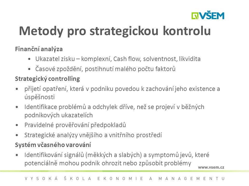 Metody pro strategickou kontrolu Finanční analýza Ukazatel zisku – komplexní, Cash flow, solventnost, likvidita Časové zpoždění, postihnutí malého poč