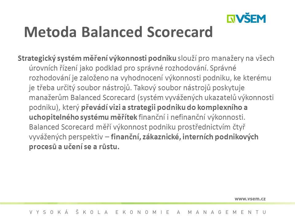Metoda Balanced Scorecard Strategický systém měření výkonnosti podniku slouží pro manažery na všech úrovních řízení jako podklad pro správné rozhodová