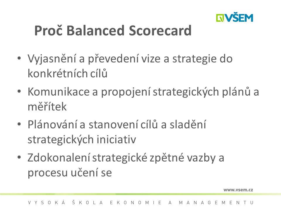 Proč Balanced Scorecard Vyjasnění a převedení vize a strategie do konkrétních cílů Komunikace a propojení strategických plánů a měřítek Plánování a st