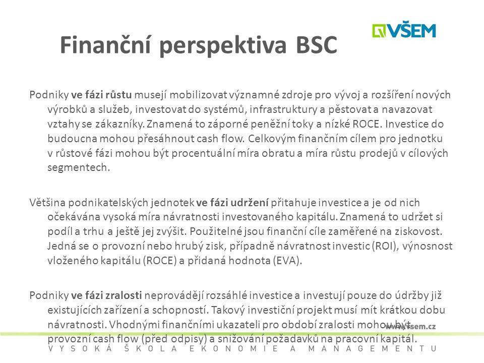 Finanční perspektiva BSC Podniky ve fázi růstu musejí mobilizovat významné zdroje pro vývoj a rozšíření nových výrobků a služeb, investovat do systémů
