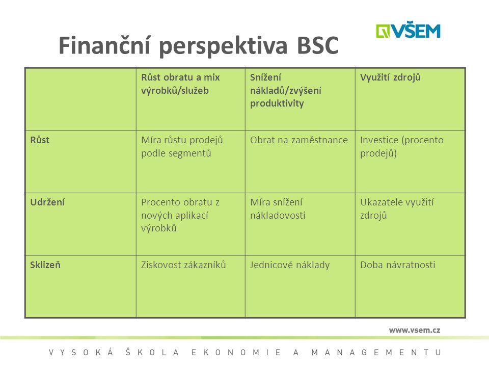 Finanční perspektiva BSC Růst obratu a mix výrobků/služeb Snížení nákladů/zvýšení produktivity Využití zdrojů RůstMíra růstu prodejů podle segmentů Ob