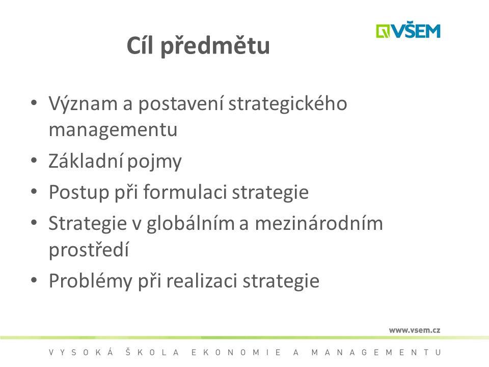 Cíl předmětu Význam a postavení strategického managementu Základní pojmy Postup při formulaci strategie Strategie v globálním a mezinárodním prostředí