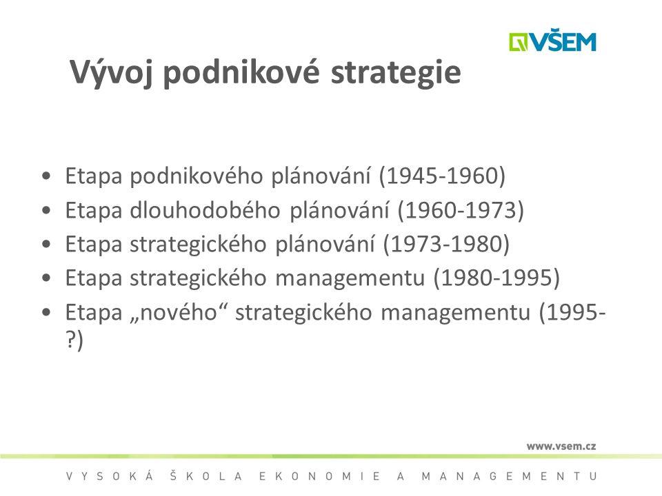 Vývoj podnikové strategie Etapa podnikového plánování (1945-1960) Etapa dlouhodobého plánování (1960-1973) Etapa strategického plánování (1973-1980) E
