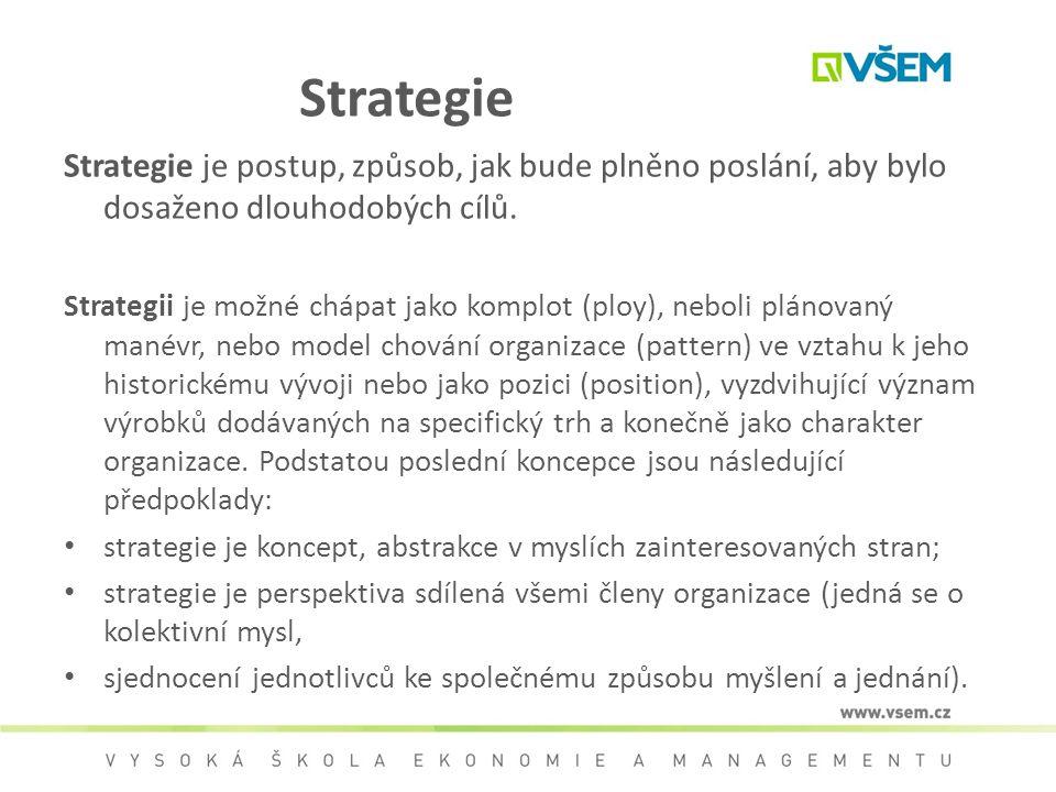 Strategie Strategie je postup, způsob, jak bude plněno poslání, aby bylo dosaženo dlouhodobých cílů. Strategii je možné chápat jako komplot (ploy), ne