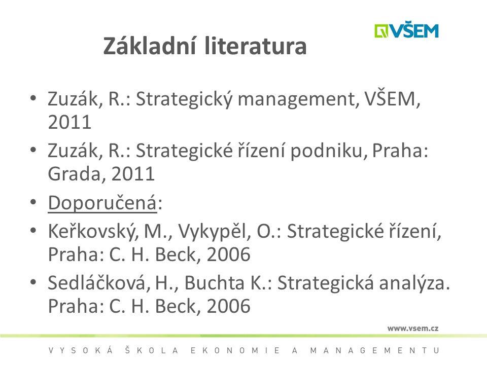 Základní literatura Zuzák, R.: Strategický management, VŠEM, 2011 Zuzák, R.: Strategické řízení podniku, Praha: Grada, 2011 Doporučená: Keřkovský, M.,