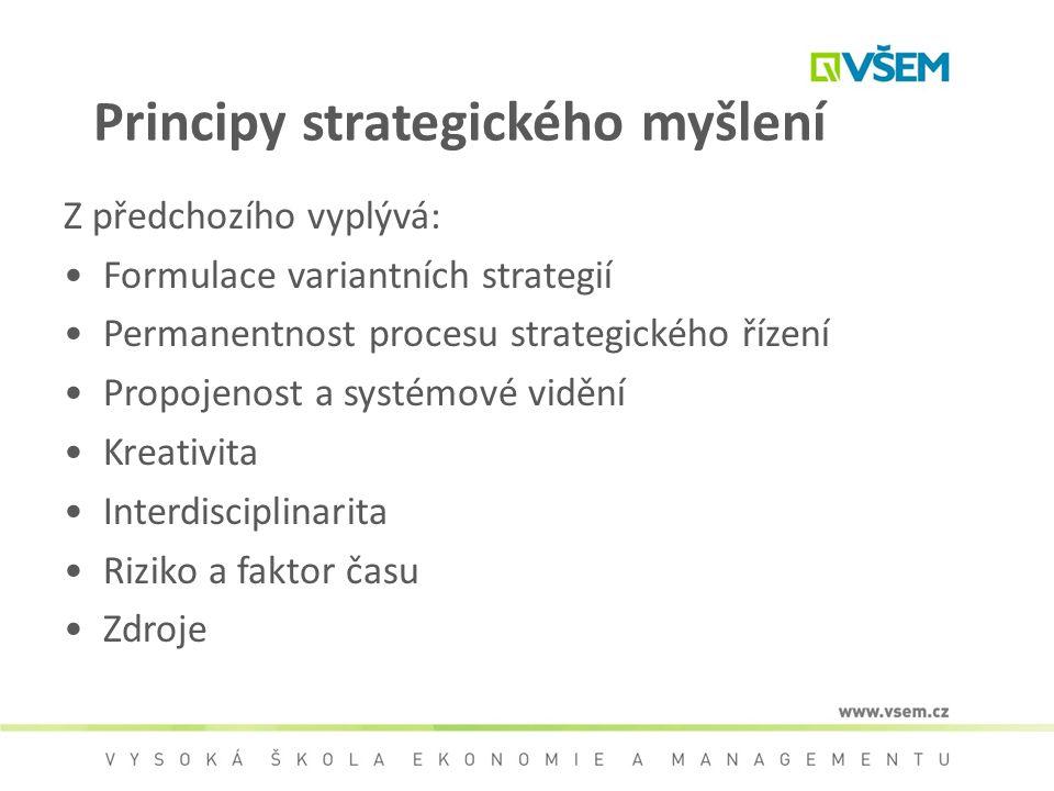 Principy strategického myšlení Z předchozího vyplývá: Formulace variantních strategií Permanentnost procesu strategického řízení Propojenost a systémo