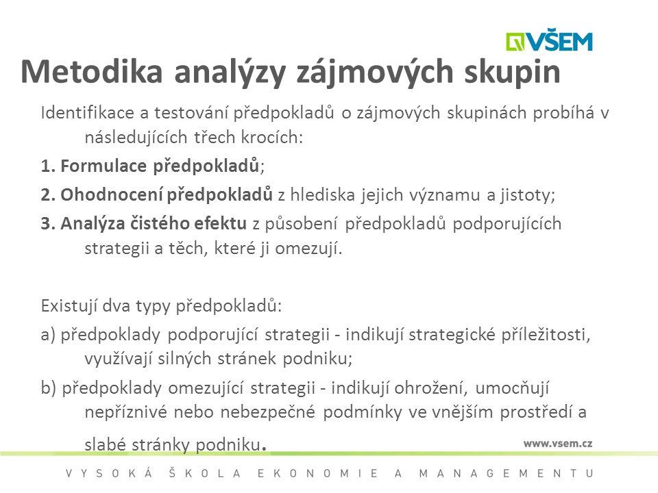 Metodika analýzy zájmových skupin Identifikace a testování předpokladů o zájmových skupinách probíhá v následujících třech krocích: 1. Formulace předp